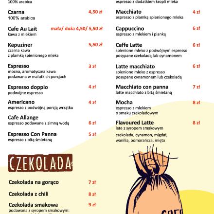 menu kawiarnia